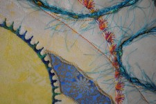 Close up of detail stitching in art quilt