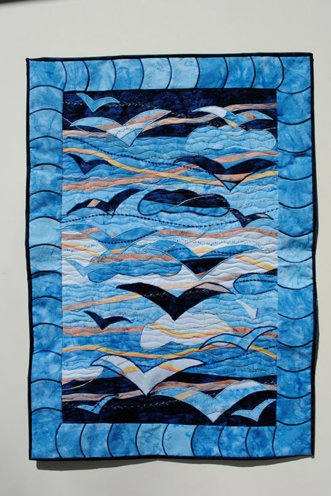 Art quilt with birds