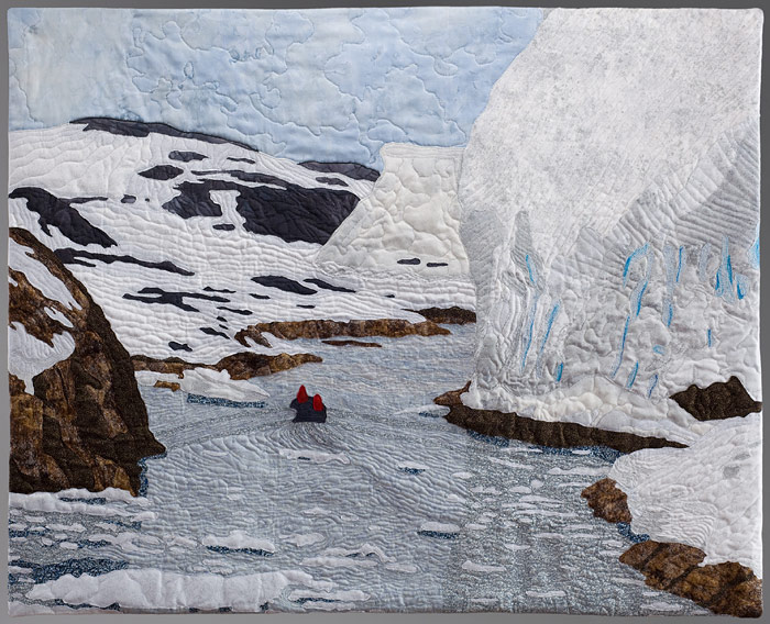 Representational art quilt of Antarctic scene