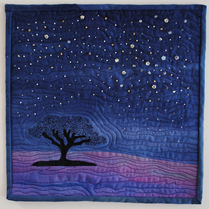 Beaded art quilt of night scene