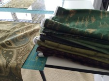 stack of green fabric